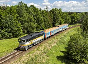 Обои Чехия Железные дороги Поезда Локомотив Природа