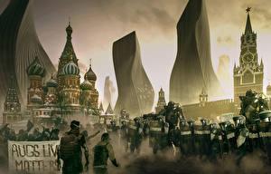 Фото Deus Ex Москва Храмы Московский Кремль Полицейские Mankind Divided, Moscow 2029 Игры Фэнтези