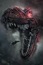 Обои Динозавры Истребители Робот Зубы Голова Фантастика