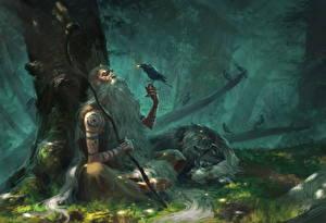 Обои Собаки Вороны Старый мужчина Посоха Деревья Фэнтези