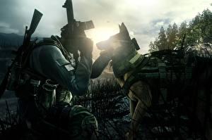 Фотография Собаки Солдаты Немецкая овчарка Call of Duty: Ghosts Игры 3D_Графика