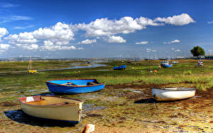 Фото Англия Берег Лодки Небо Облако Havant Borough Природа