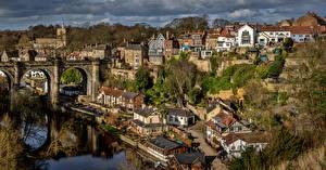 Фото Англия Здания Реки Мосты Knaresborough город