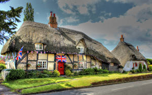 Картинка Англия Здания Улица Дизайн Кусты Southwick Города