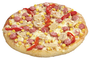Картинка Быстрое питание Пицца Вблизи Белый фон Еда