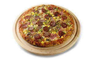 Фото Быстрое питание Пицца Белый фон Разделочная доска Пища