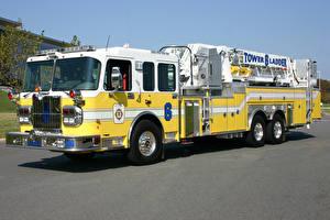 Обои Пожарный автомобиль Желтый 2004-17 Spartan Gladiator Ferrara Ladder Truck