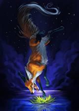 Картинки Лисы Рисованные Прыжок