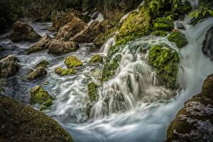 Фото Франция Водопады Камень Мох Provence Sorgue