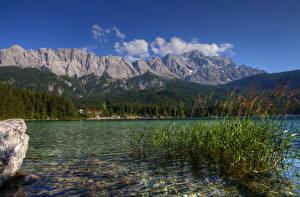 Обои Германия Озеро Горы Леса Альпы Lake Eib