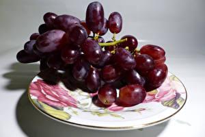 Обои Виноград Крупным планом Тарелка Еда