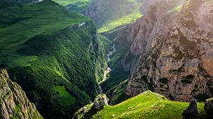 Обои Луга Каньон Скала Guba Azerbaijan Природа картинки