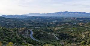 Фото Греция Поля Дороги Холмы Crete Природа