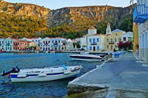 Фото Греция Дома Пристань Лодки Скала Kastelorizo Aegean Sea