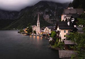 Картинки Халльштатт Берег Здания Австрия Озеро Города