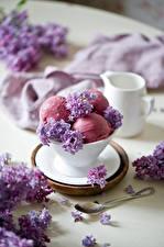 Картинки Мороженое Сирень Шар Лепестки Ложка Пища
