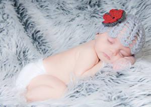 Картинка Грудной ребёнок Шапки Спит Ребёнок
