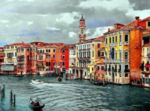 Картинка Италия Здания Венеция Водный канал Grand Canal Города