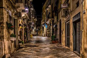 Фотографии Италия Здания Улиц Ночь HDRI Monopoli Puglia Города