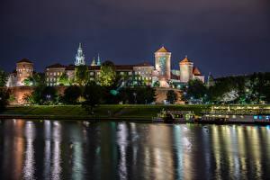 Фотография Краков Польша Речка Здания Пристань Ночь Города