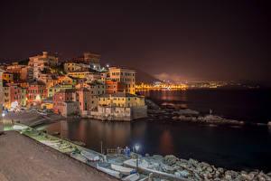 Фото Лигурия Италия Здания Пристань Лодки Уличные фонари Ночь Genova