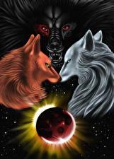 Картинки Волшебные животные Планеты Втроем Ragnarok, Skoll, Fenris, Hati
