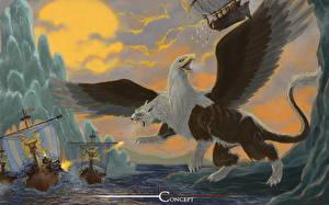 Фото Волшебные животные Корабли Парусные Крылья Фэнтези