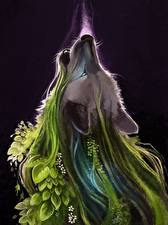 Картинка Волшебные животные Волки Фантастика Животные