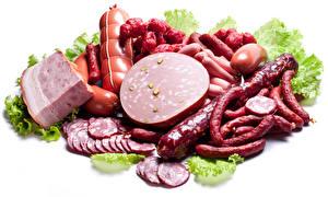 Фотографии Мясные продукты Колбаса Ветчина Белый фон Пища