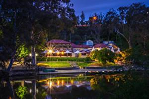 Фотография Мельбурн Австралия Дома Пирсы Ночные Деревья