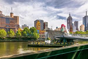 Картинки Мельбурн Австралия Дома Реки Мосты