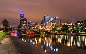 Фотографии Мельбурн Австралия Здания Реки Мосты Ночь Водный канал Города