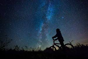 Обои Млечный Путь Небо Звезды Велосипед Силуэта Ночью