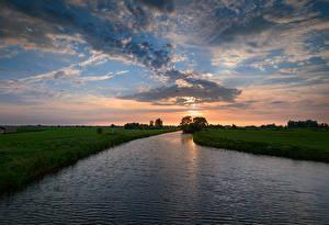 Фотография Нидерланды Речка Рассветы и закаты Небо Вечер Облака De Hoef Utrecht Природа