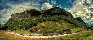 Фотография Норвегия Горы Река Небо Облака Aurland Sogn og Fjordane Природа