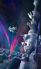 Обои Орбитальные станции Рисованные Космонавты Космос
