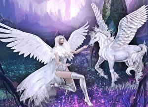 Обои Пегас Ангелы Крылья Девушки