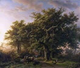 Картинки Картина Деревья Barend Cornelis Koekkoek, Forest Scene