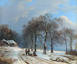 Картинка Живопись Зима Деревья Barend Cornelis Koekkoek, Winter Landscape