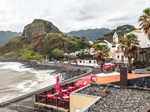 Фотографии Португалия Берег Здания Утес Madeira Porto da Cruz Города