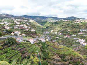 Фотографии Португалия Здания Поля Холмы Madeira Estreito da Calheta
