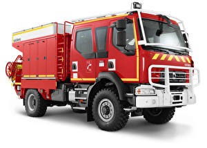 Обои Рено Пожарный автомобиль Белом фоне Красных 2015-17 D14 4×4 Crew Cab Sides CCFM автомобиль