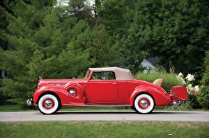 Картинки Винтаж Красный Металлик Сбоку 1938 Packard Super Eight Convertible Coupe Авто