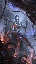 Картинки Робот Сидящие Трон Фантастика Девушки