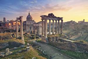 Картинка Рим Италия Руины Колонна