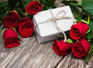 Фотография Розы Доски Красный Подарки Цветы