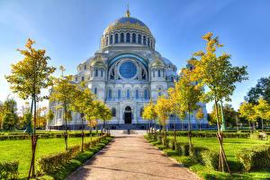 Фото Россия Санкт-Петербург Храмы Собор Аллея Деревья Kronstadt