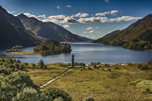 Картинки Шотландия Пейзаж Гора Озеро Побережье Облака Glenfinnan Природа