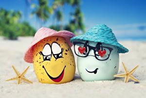 Картинки Смайлики Лето Яйца Очки Шляпа Песок