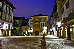 Фото Испания Дома Ночью Улице Hondarribia Basque Country город